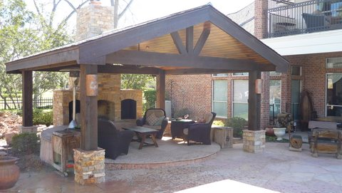 Outdoor Fireplace and Living with a Patio Pavilion