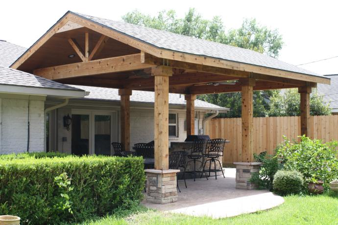 Backyard Pergola Attached To House Covered Patios